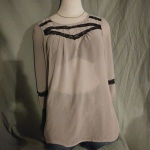 Maurices Sheer Dressy Top. Size S. Tan and black.